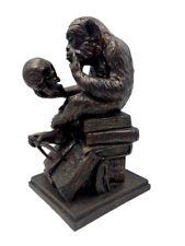 Monkey Holding Skull Sitting on Pile of Books Statue Rheinhold 8H Museum Replica