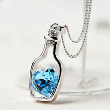 "Cute Love Letter ""Message in a Bottle""  Aqua Blue Crystal Heart Pendant Necklace"