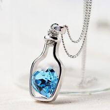 "Cute Love Letter ""Message in a Bottle""  Aqua Blue Crystal Heart Pendant Necklace"