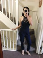 Halterneck Lace Navy Jumpsuit Size Small New