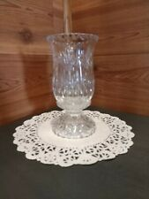 """2-Piece Ornate 7.5"""" Clear Pressed Glass Pedestal Candle Holder/Fairy Lamp"""