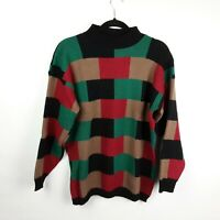 VTG 90s Bay Point Threads Geometric Color Block Sweater 100% Acrylic Men's Sz L