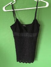 7336) BEBE sz XS knit lace cami tank top bust is lined shimmer texture