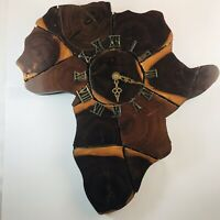 VTG Lacquered Slab Pieces Wooden Wall Clock MCM Shaped Like Continent of Africa