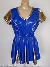 Cheerleader Costume Ladies Blue/Gold Vinyl Zippered Back Costume S/M