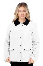 Ladies 12-24 New Quilted Jacket Coat Poppers Zip Corduroy Collar Womens