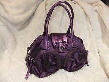 "BOTKIER Bianca Satin & Leather Purple Plum Satchel Handbag , 15"" x 7.5"""