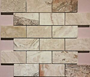 X5 Luxury Mosaic Tile Sheets, Travertine, Natural Stone, Beige, 305mmx305mmx10mm