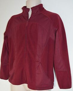 Cabelas Mens M Purple Hiking Camp Unlined Work Sport Zip Front Fleece Jacket