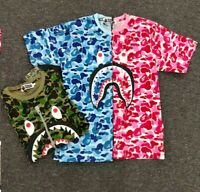 2019 Fashion Hot Bape Camo Shark Mouth Casual Men's T-shirt Tee Tops 3 Colors