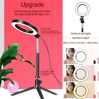 Dimmable 5500K LED Ring Light Kit w/ Stand for Makeup Phone Camera Selfie Lamp