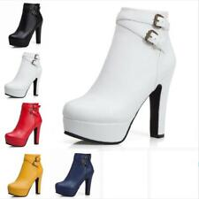 Women's Platform Back Zipper Block High Heel Ankle Boots Round Toe Casual Shoes