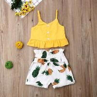 Toddler Kid Baby Girl Ruffle Sling Tops Shorts Pants 2PCS Outfits Clothes Summer