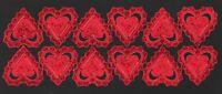 alte Dresdner Pappe Ornamete Herzen Hearts rot - DRESDEN ORNAMENTS
