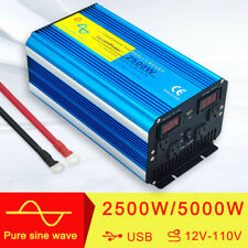 Double LED Pure Sine Wave Power Inverter 2500W/5000W Peak 12V To 110V Off Grid