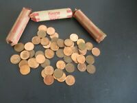 CANADIAN PENNIES UNSORTED 3 ROLLS