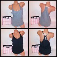 Victoria Secret Tank Top Solid Black Sleeveless Racerback Supermodel Essentials