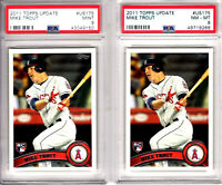 HUGE (2) 2011 Topps Update Mike Trout PSA 9 & 8 MINT LOT Rookie RC #US175 Angels