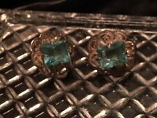 Vintage Filigree Silver With Aquamarine Gemstone Earrings. Gorgeous!
