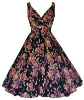 Womens 40's 50's Vintage Floral Wrap Bridesmaid Prom Party Tea Dress 10-28 New