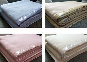 100% Wool Solid Traditional Blanket  Luxury Satin Ribbon Trim in 4 colours