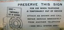 Old BELL SYSTEM Telephone Sign SORRY TEMPORARILY OUT OF SERVICE Payphone Ad