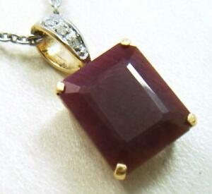 SYJEWELLERY 9CT SOLID YELLOW GOLD NATURAL OCTAGON RUBY & DIAMOND PENDANT P841