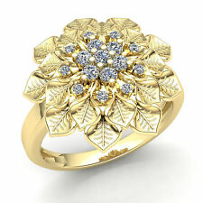 Cocktail Right hand Ring 10K Gold 2carat Round Cut Diamond Ladies Vintage Flower