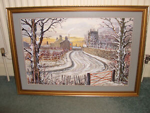 Original Watercolour Painting Of Brindle Near Bolton By Brian Barlow