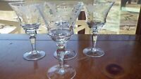 Vintage Etched Cordial Glasses Elegant cut floral elegant bowl design 4 4oz