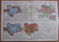 Österreich Ungarn Jahrestemperatur Wald - 41x29 cm alte Karte aus 1912 old map