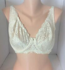 Barely Breezies Bra 40D Lace Cream Color Floral Lace Underwire No Padding