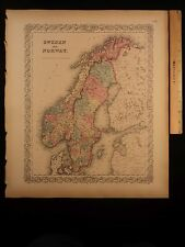 1855 1st COLTON Atlas Color Map Sweden and Norway Finland Scandinavia 14x17in