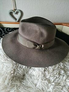 JOULES EPONINE CLASSIC WOOL FELT FEDORA WITH BAND. COLOUR. GREEN. SIZE.LARGE