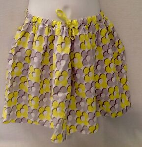 MINI BODEN Yellow Gray White Mod Floral Skirt 7 8 Y Flowers Drawstring Lined