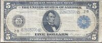 USA 5 Dollar 1914 Banknote Large Size US Federal Reserve Note $5 Schein #24309