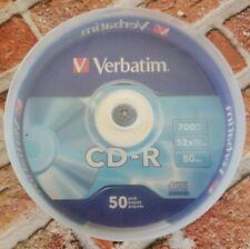 50 VERBATIM CD-R CDR 700MB 52X Branded 80min Media Disc 94691 **FREE SHIPPING**