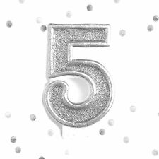 Silver Glitter 5th Birthday Candle Number 5 Silver Five Number Cake Topper