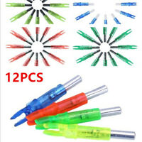 12pcs Hunting Luminous Lighted LED Arrow Nock Tail Fits 6.2mm Arrow Compound Bow
