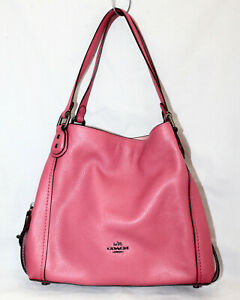 COACH Edie 31 Washed Red Pebble Leather 3 Section Shoulder Bag 57125