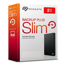 Seagate 2 TB USB 3,0 Backup Plus Slim, 2TB, black, external portable Hard drive