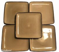 """SET (5) HOME TRENDS Rave Taupe 10.5"""" Square Dinner Plates"""