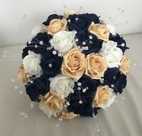 WEDDING FLOWERS NAVY BLUE GOLD IVORY FOAM ROSE BRIDE BOUQUET CRYSTAL ARTIFICIAL