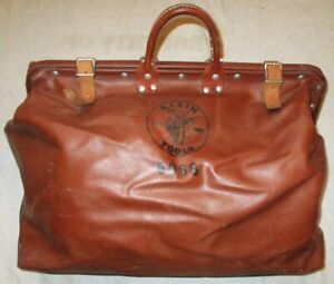 VINTAGE KLEIN TOOLS 6068 LINEMAN TOOL BAG BROWN VINYL LEATHER HEAVY DUTY LARGE