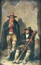 Gemälde Pfifferari Hirten Dudelsack Schalmei Rom Italy K.Wohnlich Mieroszów 1870