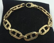 "14k Yellow Gold Greek Key Gucci Mariner Chain Link Bracelet 8"" Long"