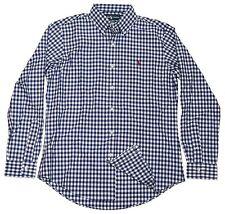 Polo Ralph Lauren Men Custom Fit Dress Casual Shirt Gingham Navy Blue Red Medium