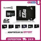 Carte mémoire micro SD SDHC 2Go 4Go 8Go 16Go 32Go 64Go classe 4/10 + Adaptateur