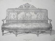 Canapé de Salon Louis XIV GRAVURE le GARDE-MEUBLE DESTOUCHES XIXéme