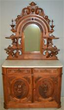 18784 Victorian Burl Walnut Marble Top Carved Sideboard